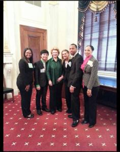 MSU TRIO SSS students Bianca McNeil, Tai Nguyen, United States Senator Debbie Stabenow (D-Michigan), Tara Milbank, Dellonie Davenport, and MSU TRIO SSS Coordinator Jamillah Gross-Caldwell.
