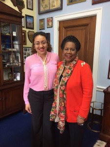MSU TRIO SSS student Courtney Woods with Congresswoman Sheila Jackson Lee. Courtney interned for Congresswoman Lee as a Legislative Intern with the U.S. House of Representatives Committee on Judiciary